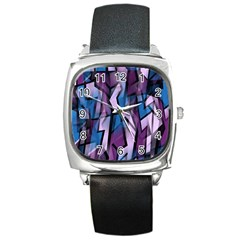 Purple decorative abstract art Square Metal Watch