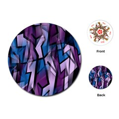 Purple decorative abstract art Playing Cards (Round)