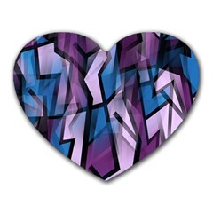 Purple decorative abstract art Heart Mousepads