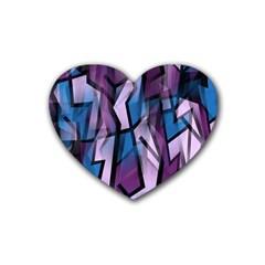 Purple decorative abstract art Rubber Coaster (Heart)