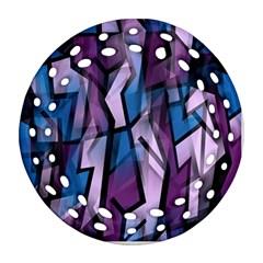 Purple decorative abstract art Round Filigree Ornament (2Side)