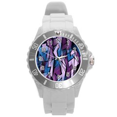 Purple decorative abstract art Round Plastic Sport Watch (L)