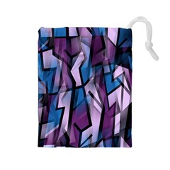 Purple decorative abstract art Drawstring Pouches (Large)