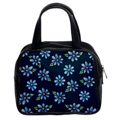 Retro Blue Daisy Flowers Pattern Classic Handbags (2 Sides)