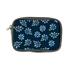 Retro Blue Daisy Flowers Pattern Coin Purse