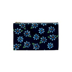 Retro Blue Daisy Flowers Pattern Cosmetic Bag (Small)