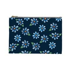 Retro Blue Daisy Flowers Pattern Cosmetic Bag (Large)