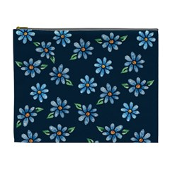 Retro Blue Daisy Flowers Pattern Cosmetic Bag (xl)