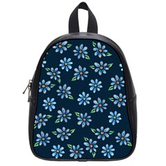 Retro Blue Daisy Flowers Pattern School Bags (small)