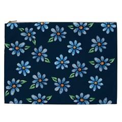 Retro Blue Daisy Flowers Pattern Cosmetic Bag (XXL)