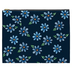 Retro Blue Daisy Flowers Pattern Cosmetic Bag (xxxl)