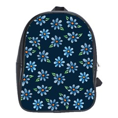 Retro Blue Daisy Flowers Pattern School Bags (xl)