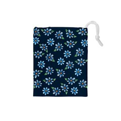 Retro Blue Daisy Flowers Pattern Drawstring Pouches (small)