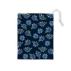 Retro Blue Daisy Flowers Pattern Drawstring Pouches (Medium)