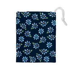 Retro Blue Daisy Flowers Pattern Drawstring Pouches (large)
