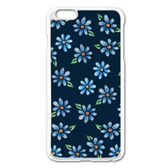 Retro Blue Daisy Flowers Pattern Apple Iphone 6 Plus/6s Plus Enamel White Case