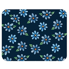 Retro Blue Daisy Flowers Pattern Double Sided Flano Blanket (Medium)
