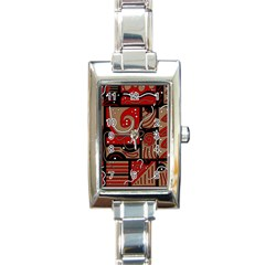 Red and brown abstraction Rectangle Italian Charm Watch