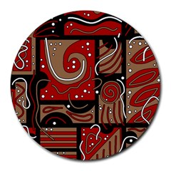 Red and brown abstraction Round Mousepads