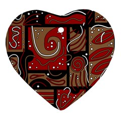 Red And Brown Abstraction Ornament (heart)