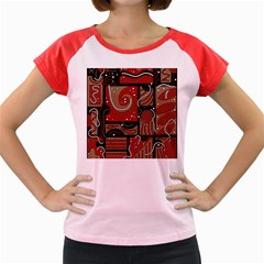 Red and brown abstraction Women s Cap Sleeve T-Shirt