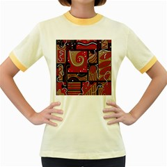 Red and brown abstraction Women s Fitted Ringer T-Shirts