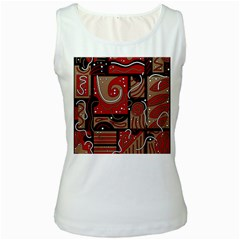 Red and brown abstraction Women s White Tank Top