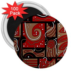 Red and brown abstraction 3  Magnets (100 pack)