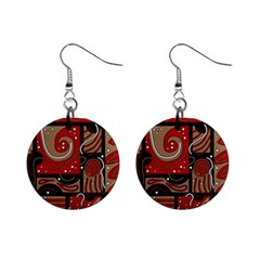 Red and brown abstraction Mini Button Earrings
