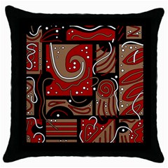 Red and brown abstraction Throw Pillow Case (Black)