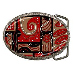 Red and brown abstraction Belt Buckles