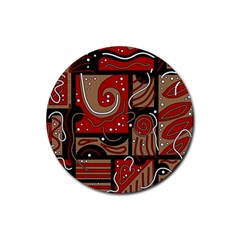 Red and brown abstraction Rubber Coaster (Round)