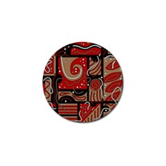 Red and brown abstraction Golf Ball Marker (4 pack)