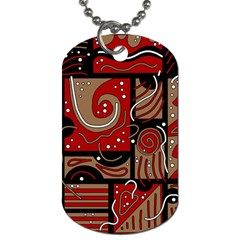 Red and brown abstraction Dog Tag (Two Sides)
