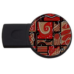 Red and brown abstraction USB Flash Drive Round (2 GB)