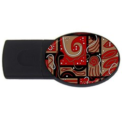 Red and brown abstraction USB Flash Drive Oval (2 GB)