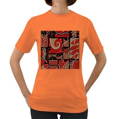 Red and brown abstraction Women s Dark T-Shirt