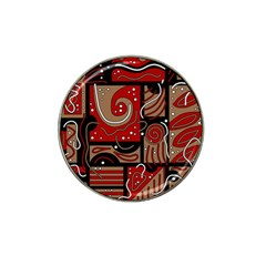 Red and brown abstraction Hat Clip Ball Marker (4 pack)