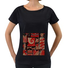 Red and brown abstraction Women s Loose-Fit T-Shirt (Black)
