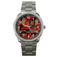 Red and brown abstraction Sport Metal Watch