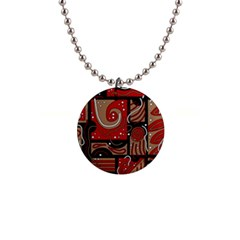 Red and brown abstraction Button Necklaces