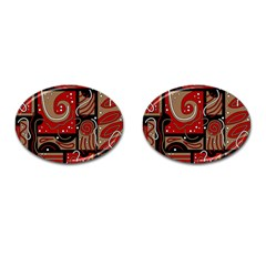 Red and brown abstraction Cufflinks (Oval)