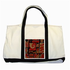 Red and brown abstraction Two Tone Tote Bag