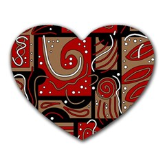 Red and brown abstraction Heart Mousepads