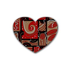 Red and brown abstraction Rubber Coaster (Heart)