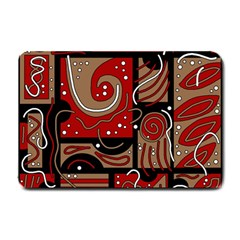 Red and brown abstraction Small Doormat