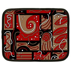 Red and brown abstraction Netbook Case (Large)