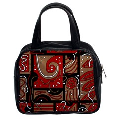 Red and brown abstraction Classic Handbags (2 Sides)