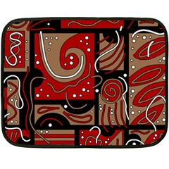 Red and brown abstraction Double Sided Fleece Blanket (Mini)