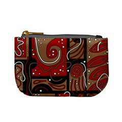 Red and brown abstraction Mini Coin Purses